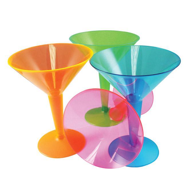 neonfarbene martini gl ser aus kunststoff 12er pack g nstig kaufen bei. Black Bedroom Furniture Sets. Home Design Ideas