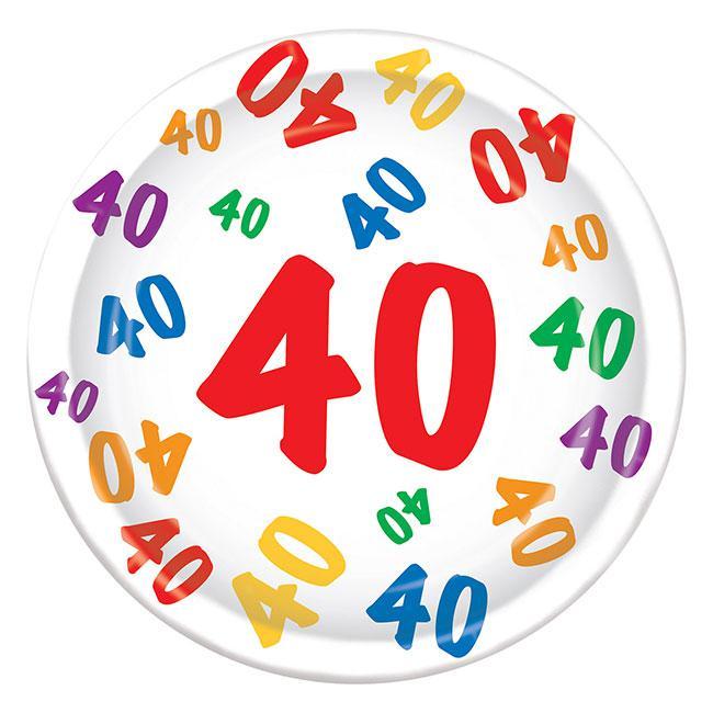 Pappteller 40 Geburtstag Zahlenexplosion 8er Pack Gunstig Kaufen