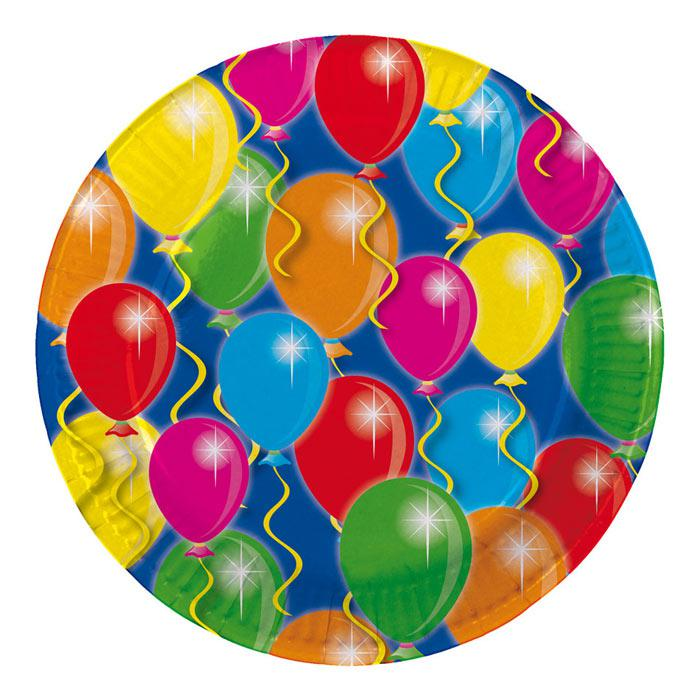 Pappteller happy birthday bunte ballons 23 cm 8er pack for Bunte pappteller