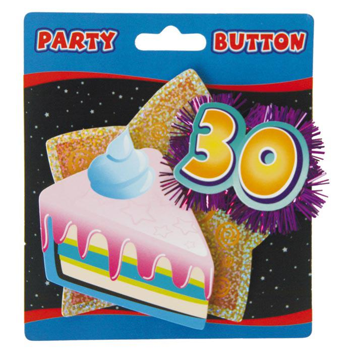 party button 30 geburtstag mit lametta g nstig kaufen bei. Black Bedroom Furniture Sets. Home Design Ideas