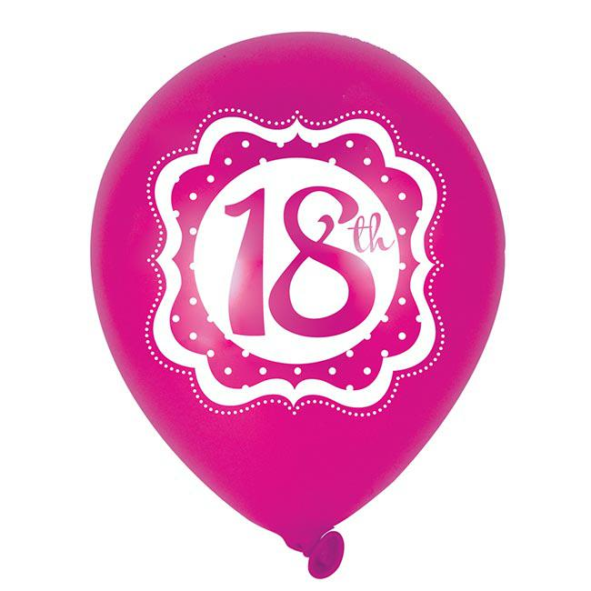 luftballons pretty pink 18 geburtstag 6er pack g nstig. Black Bedroom Furniture Sets. Home Design Ideas