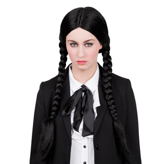 schwarze zopf per cke wednesday addams g nstig kaufen bei. Black Bedroom Furniture Sets. Home Design Ideas