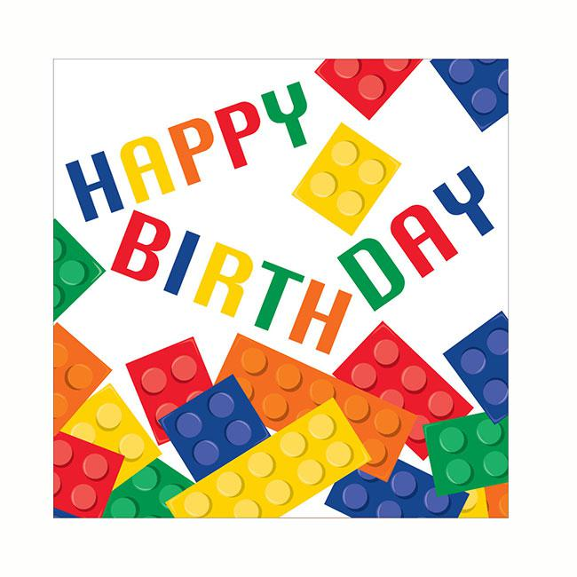 Servietten bunte bausteine happy birthday 16er pack for Bunte pappteller