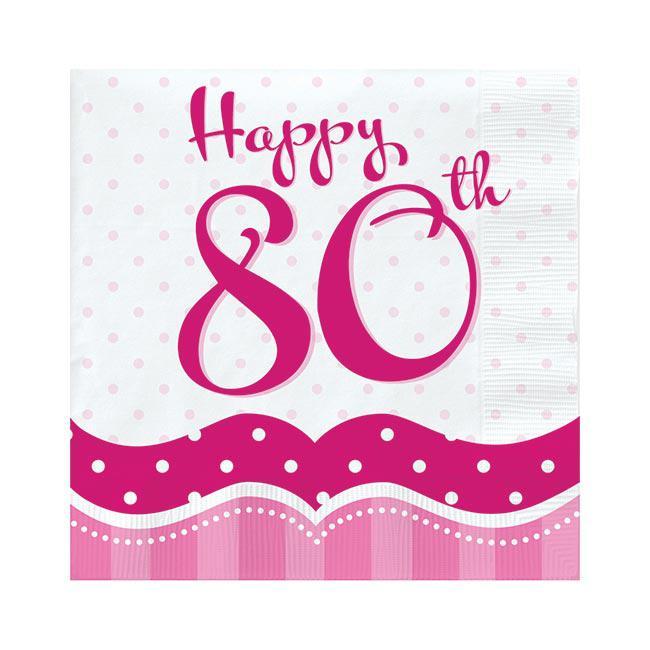 servietten pretty pink happy 80th 18er pack g nstig. Black Bedroom Furniture Sets. Home Design Ideas