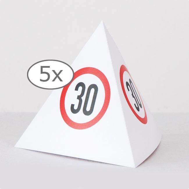 tischdeko verkehrsschild pyramide 30 geburtstag 13 5 cm 5er pack g nstig kaufen bei. Black Bedroom Furniture Sets. Home Design Ideas