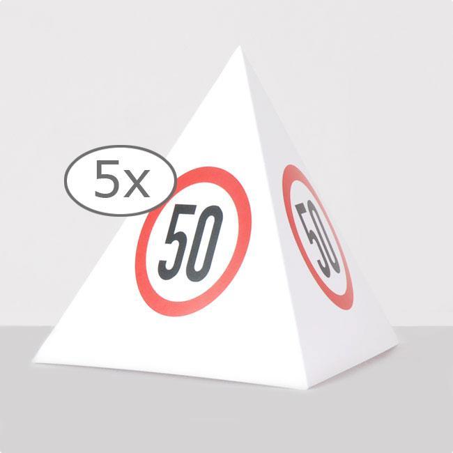 tischdeko verkehrsschild pyramide 50 geburtstag 13 5 cm 5er pack g nstig kaufen bei. Black Bedroom Furniture Sets. Home Design Ideas