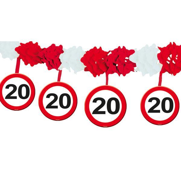 Wabenpapier-Girlande Verkehrsschild 20. Geburtstag 4 m ...