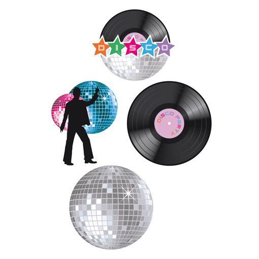 wanddeko disco night 37 cm 4 tlg g nstig kaufen bei. Black Bedroom Furniture Sets. Home Design Ideas