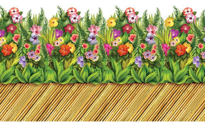 Wanddeko gehweg aus bambus mit tropischen blumen 0 61 x 9 for Wanddeko bambus