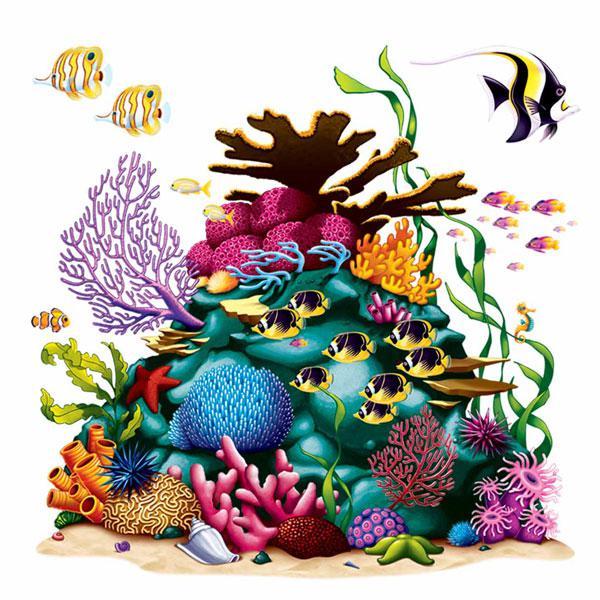 Wanddeko korallenriff mit fischen 160 cm 4 tlg g nstig - Wanddeko mit farbe ...