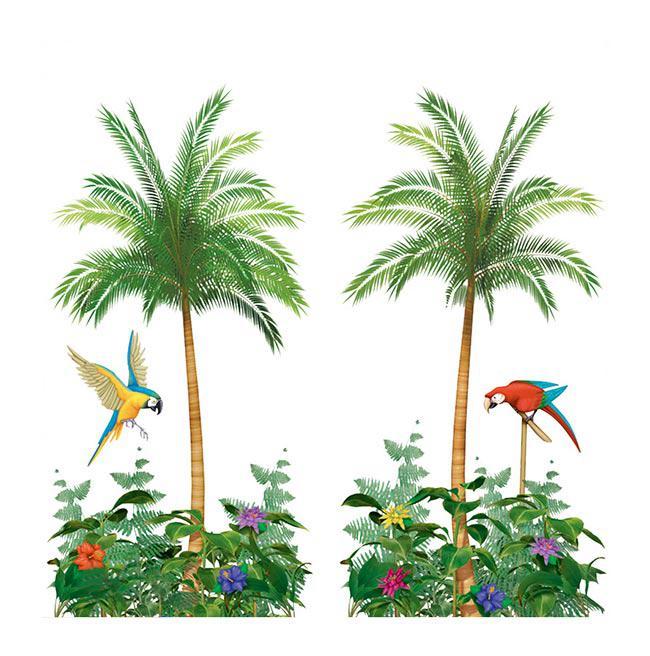 wanddeko palme mit papagei 165 x 85 cm 2 tlg g nstig kaufen bei. Black Bedroom Furniture Sets. Home Design Ideas