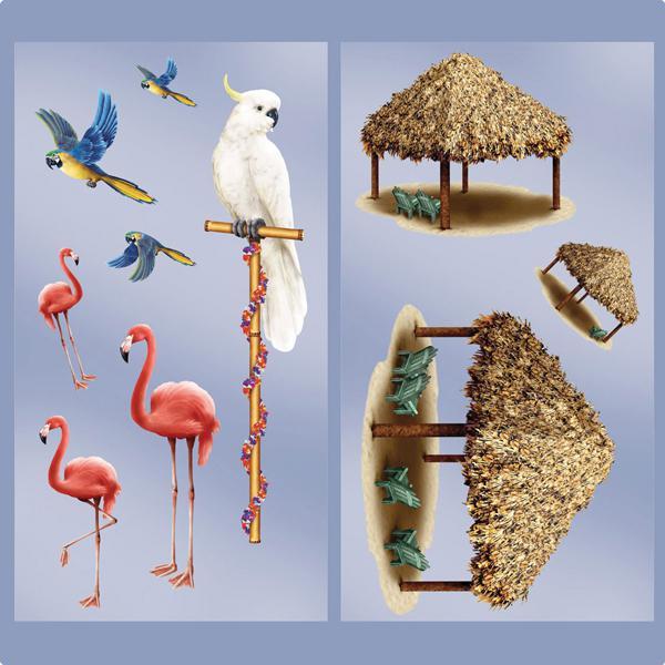 wanddeko strohh tten und tropische v gel 127 cm 10 tlg g nstig kaufen bei. Black Bedroom Furniture Sets. Home Design Ideas