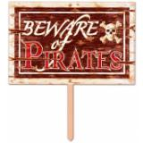3D Schild Beware of Pirates 48 cm