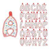 Aufblasbare Buchstaben mit bunten Sternen 35 cm