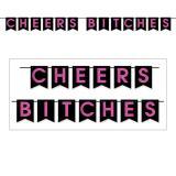 """Buchstaben-Girlande """"Cheers Bitches"""" 3,66 m"""