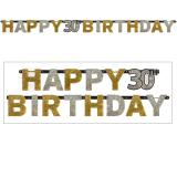 """Buchstaben-Girlande """"Glamouröse 30"""" Happy Birthday 2,1 m"""