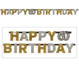 """Buchstaben-Girlande """"Glamouröse 60"""" Happy Birthday 2,1 m"""