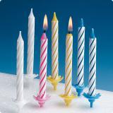 Bunte Geburtstagskerzen mit Halter 2436-tlg.