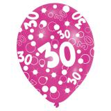 "Bunte Luftballons 30. Geburtstag ""Bubbels"" 6er Pack"