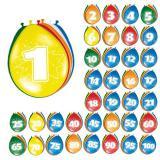 Bunte Luftballons mit Zahlen 8er Pack-40