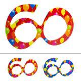 """Bunte Partybrille """"60. Geburtstag"""""""