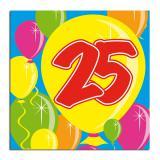 """Cocktailservietten """"Happy Birthday Bunte Ballons"""" 25. Geburtstag 20er Pack"""