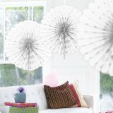 Deckendeko Fächer aus Wabenpapier 45 cm-weiß