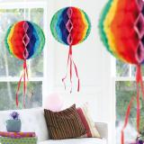 "Deckendeko ""Regenbogen-Ball"" aus Wabenpapier 30 cm"