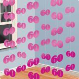 Deckenhänger 60. Geburtstag pink 2,13 m 6er Pack