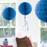 "Deckenhänger ""Ball aus Wabenpapier"" 30 cm-blau"