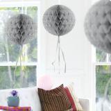 """Deckenhänger """"Ball aus Wabenpapier"""" 30 cm-silber"""
