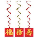 Deckenhänger Chinesische Zeichen 102 cm 3er Pack