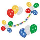 """Deko-Set """"Girlande mit Luftballons"""" Herzlich Willkommen 24-tlg."""