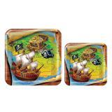 """Eckige Pappteller """"Piraten-Reise"""" 8er Pack"""