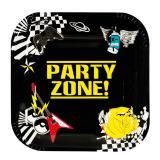 """Eckige Pappteller """"Party-Zone"""" 6er Pack"""