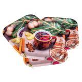 Eckiger Pappteller Glühwein 6er Pack