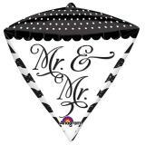 """Edler Folien-Ballon in Diamantenform """"Mr. & Mr."""" 38 x 43 cm"""