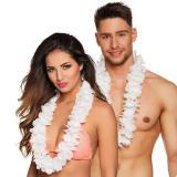 Einfarbige Hawaii Blumenkette Deluxe-weiß
