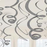 Einfarbige Wirbel-Deckenhänger 55 cm 12er Pack-silber