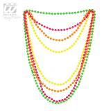 Einfarbige Neon-Perlenketten 4er Pack