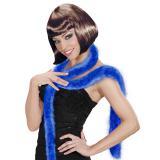 Einfarbiger Plüsch-Schal mit Federn 2 m-blau