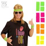 Einfarbiges Neon Schweißband-Set 3-tlg.