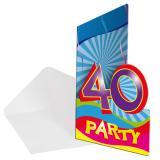 """Einladungskarten 40. Geburtstag """"Partyspaß"""" 8er Pack"""