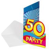 """Einladungskarten 50. Geburtstag """"Partyspaß"""" 8er Pack"""