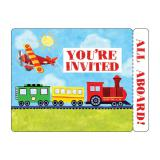 """Einladungskarten """"Auto, Bagger, Flugzeug & Co."""" mit Umschlag 8er Pack"""
