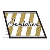 """Einladungskarten """"Black & Gold"""" mit Umschlag 8er Pack"""