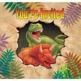 """Einladungskarten """"Gefährliche Dinosaurier"""" mit Umschlag 8er Pack"""