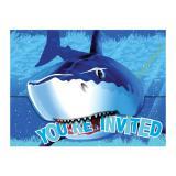 """Einladungskarten """"Gefährlicher Hai"""" mit Umschlag 8er Pack"""