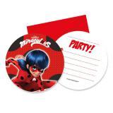Einladungskarten Miraculous - Ladybugs Abenteuer mit Umschlägen 6er Pack