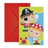 """Einladungskarten """"Niedliche Piraten"""" mit Umschlag 6er Pack"""